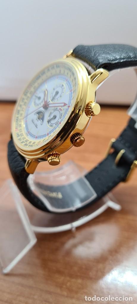 Relojes: Reloj unisex Charles de Williers, cuarzo chapado oro, esfera blanca hora mundial, correa negra nueva - Foto 6 - 255513460