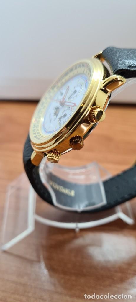 Relojes: Reloj unisex Charles de Williers, cuarzo chapado oro, esfera blanca hora mundial, correa negra nueva - Foto 8 - 255513460