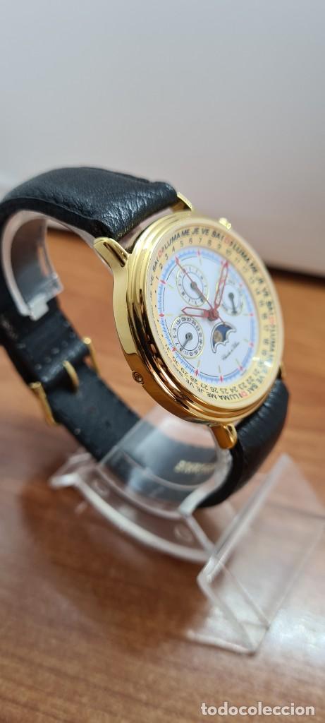 Relojes: Reloj unisex Charles de Williers, cuarzo chapado oro, esfera blanca hora mundial, correa negra nueva - Foto 9 - 255513460