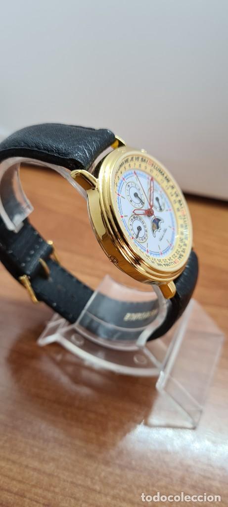Relojes: Reloj unisex Charles de Williers, cuarzo chapado oro, esfera blanca hora mundial, correa negra nueva - Foto 11 - 255513460