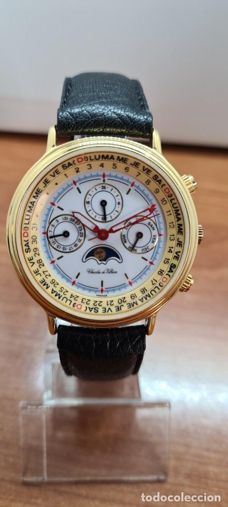 Relojes: Reloj unisex Charles de Williers, cuarzo chapado oro, esfera blanca hora mundial, correa negra nueva - Foto 12 - 255513460