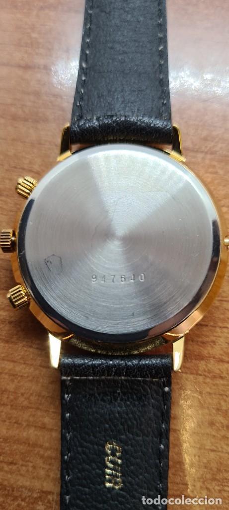 Relojes: Reloj unisex Charles de Williers, cuarzo chapado oro, esfera blanca hora mundial, correa negra nueva - Foto 16 - 255513460