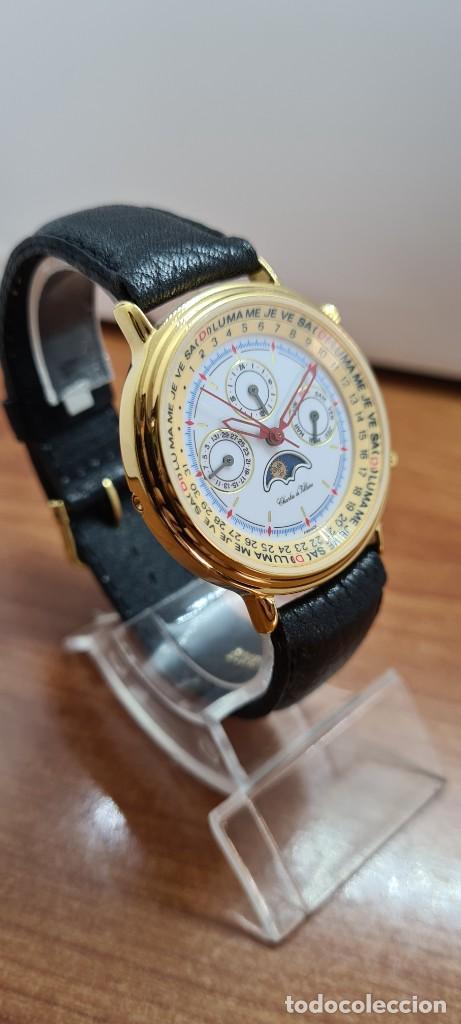 Relojes: Reloj unisex Charles de Williers, cuarzo chapado oro, esfera blanca hora mundial, correa negra nueva - Foto 17 - 255513460