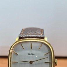 Relojes: RELOJ UNISEX (VINTAGE) KALTER DE CUERDA MANUAL, ESFERA BLANCA, CAJA ACERO CHAPADA ORO, CORREA MARRÓN. Lote 255515945