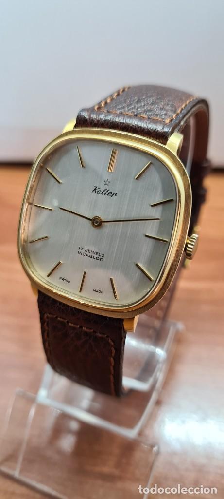 Relojes: Reloj unisex (Vintage) KALTER de cuerda manual, esfera blanca, caja acero chapada oro, correa marrón - Foto 2 - 255515945