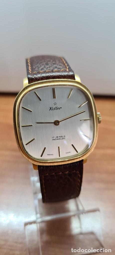 Relojes: Reloj unisex (Vintage) KALTER de cuerda manual, esfera blanca, caja acero chapada oro, correa marrón - Foto 3 - 255515945