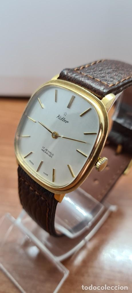 Relojes: Reloj unisex (Vintage) KALTER de cuerda manual, esfera blanca, caja acero chapada oro, correa marrón - Foto 4 - 255515945