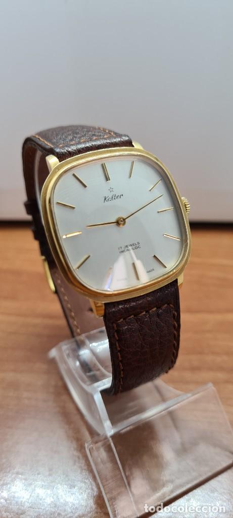 Relojes: Reloj unisex (Vintage) KALTER de cuerda manual, esfera blanca, caja acero chapada oro, correa marrón - Foto 5 - 255515945