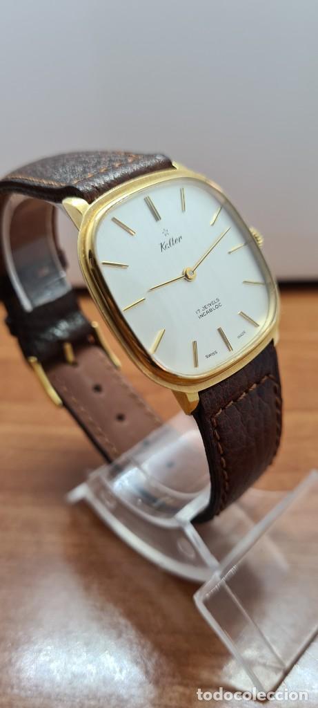 Relojes: Reloj unisex (Vintage) KALTER de cuerda manual, esfera blanca, caja acero chapada oro, correa marrón - Foto 6 - 255515945
