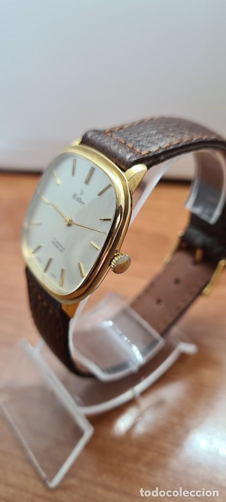 Relojes: Reloj unisex (Vintage) KALTER de cuerda manual, esfera blanca, caja acero chapada oro, correa marrón - Foto 7 - 255515945