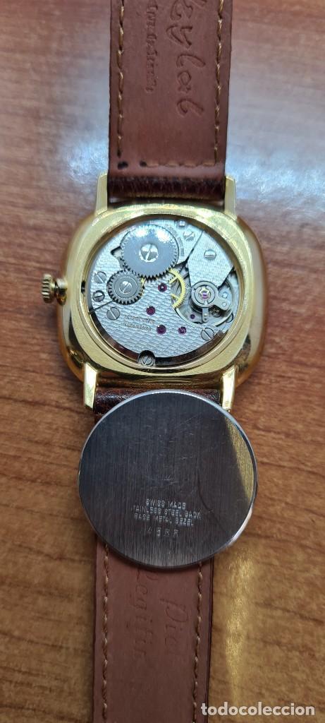 Relojes: Reloj unisex (Vintage) KALTER de cuerda manual, esfera blanca, caja acero chapada oro, correa marrón - Foto 10 - 255515945