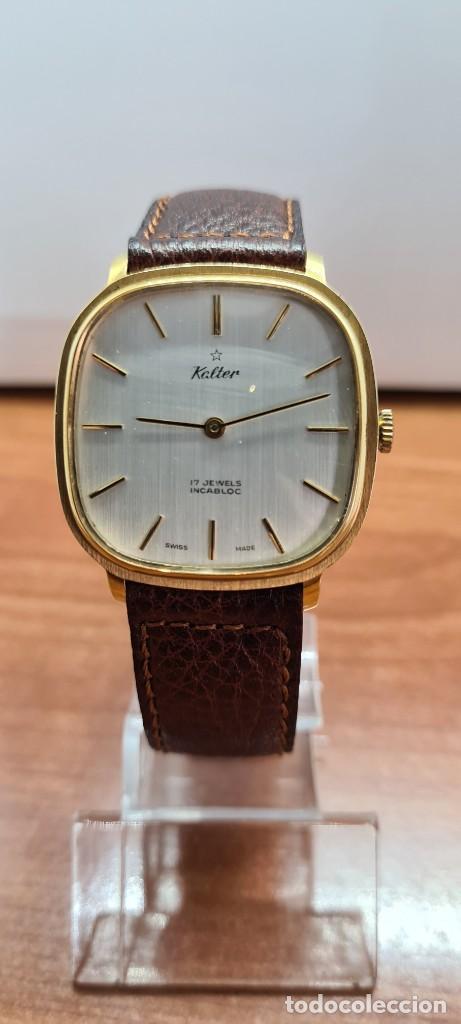 Relojes: Reloj unisex (Vintage) KALTER de cuerda manual, esfera blanca, caja acero chapada oro, correa marrón - Foto 11 - 255515945