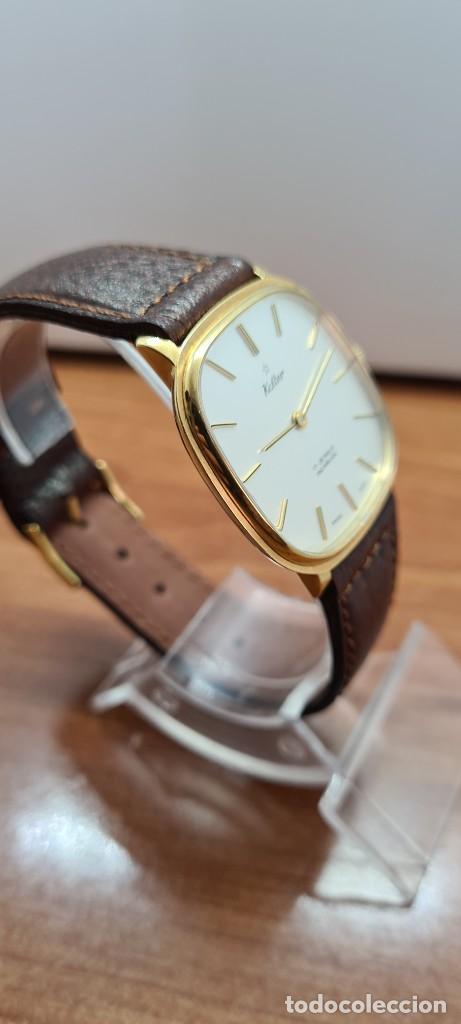 Relojes: Reloj unisex (Vintage) KALTER de cuerda manual, esfera blanca, caja acero chapada oro, correa marrón - Foto 12 - 255515945