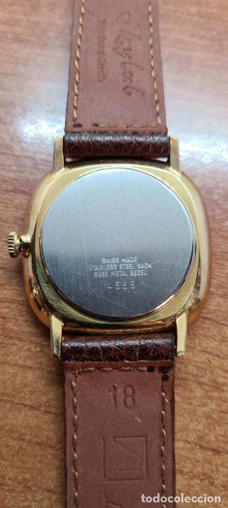 Relojes: Reloj unisex (Vintage) KALTER de cuerda manual, esfera blanca, caja acero chapada oro, correa marrón - Foto 14 - 255515945