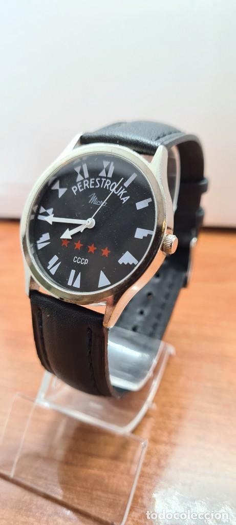 Relojes: Reloj (Vintage) caballero MICRO cuarzo en acero, esfera negra, agujas acero blancas, correa cuero. - Foto 2 - 255525065