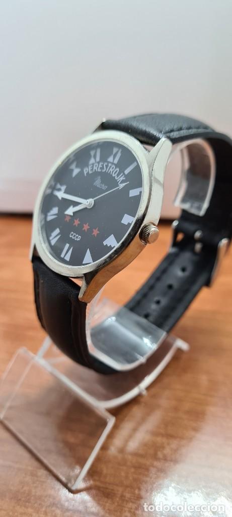 Relojes: Reloj (Vintage) caballero MICRO cuarzo en acero, esfera negra, agujas acero blancas, correa cuero. - Foto 3 - 255525065