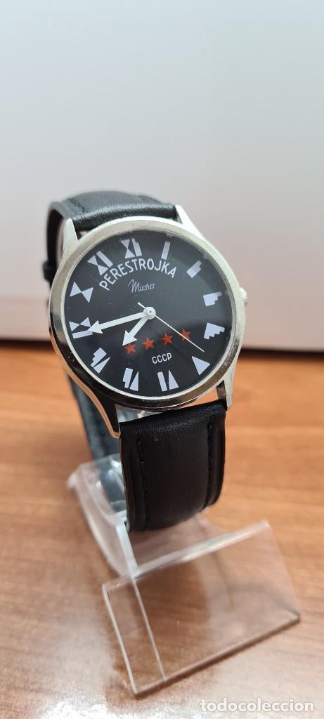 Relojes: Reloj (Vintage) caballero MICRO cuarzo en acero, esfera negra, agujas acero blancas, correa cuero. - Foto 4 - 255525065
