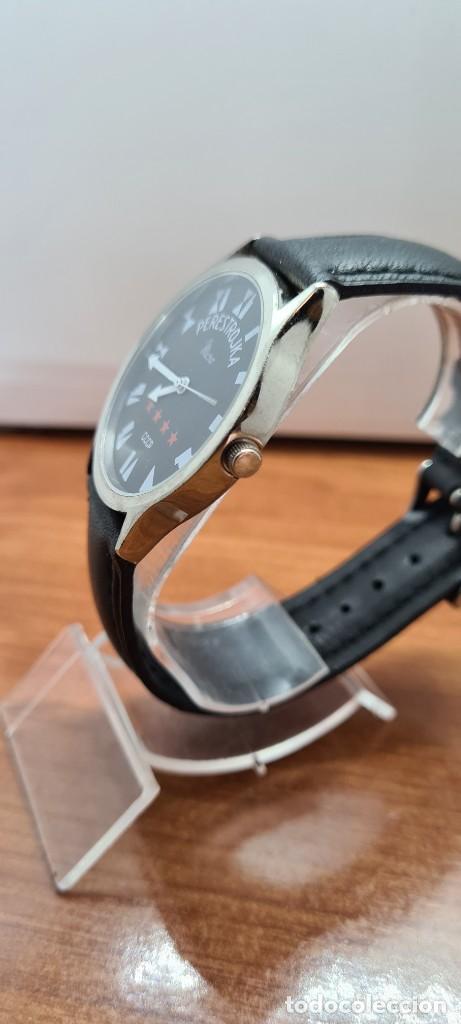 Relojes: Reloj (Vintage) caballero MICRO cuarzo en acero, esfera negra, agujas acero blancas, correa cuero. - Foto 5 - 255525065