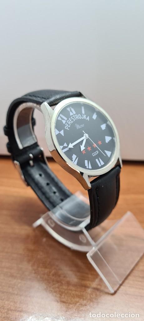 Relojes: Reloj (Vintage) caballero MICRO cuarzo en acero, esfera negra, agujas acero blancas, correa cuero. - Foto 6 - 255525065