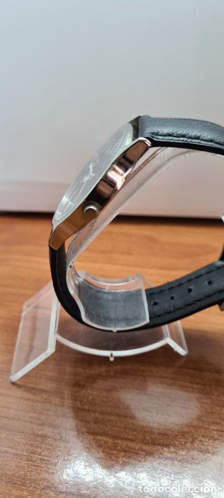 Relojes: Reloj (Vintage) caballero MICRO cuarzo en acero, esfera negra, agujas acero blancas, correa cuero. - Foto 7 - 255525065