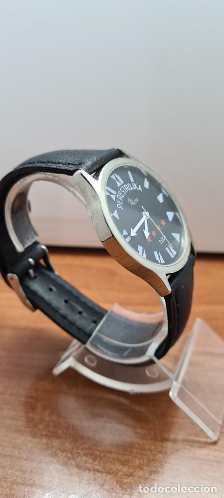 Relojes: Reloj (Vintage) caballero MICRO cuarzo en acero, esfera negra, agujas acero blancas, correa cuero. - Foto 8 - 255525065