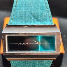 Relojes: RELOJ UNISEX (VINTAGE) AVIA CUERDA MANUAL EN ACERO, ESFERA COLOR AZUL, CORREA CUERO AZUL. FHF 74.. Lote 255934770
