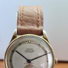 Relojes: RELOJ CABALLERO (VINTAGE) CAUNY, CHAPADO DE CUERDA, 15 RUBIS, CORREA DE CUERO MARRÓN NUEVA SIN USO.. Lote 257974070