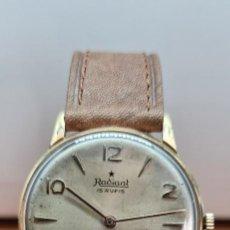 Relojes: RELOJ CABALLERO (VINTAGE) RADIANT, CUERDA CHAPADO ORO, ESFERA BLANCA CON SEGUNDERO LAS SEIS, CORREA. Lote 257977085