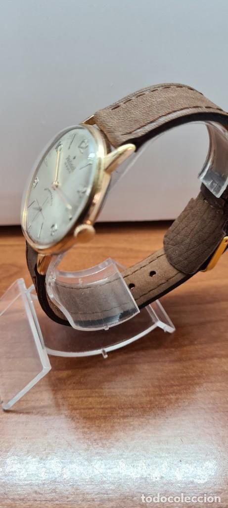 Relojes: Reloj caballero (Vintage) RADIANT, cuerda chapado oro, esfera blanca con segundero las seis, correa - Foto 5 - 257977085