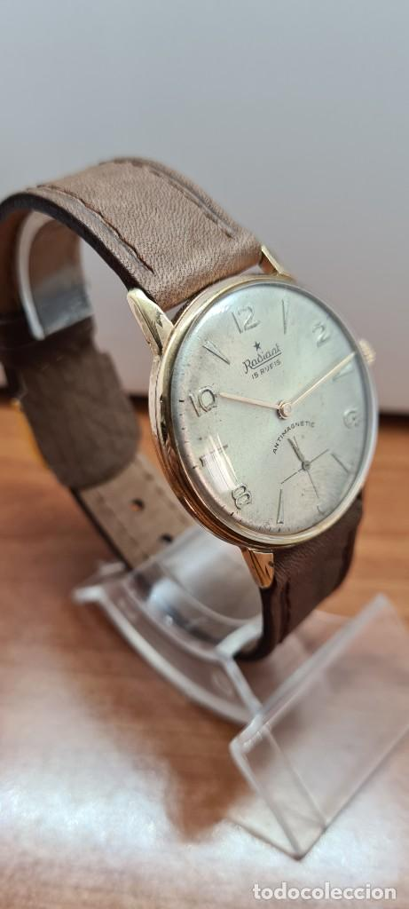 Relojes: Reloj caballero (Vintage) RADIANT, cuerda chapado oro, esfera blanca con segundero las seis, correa - Foto 9 - 257977085