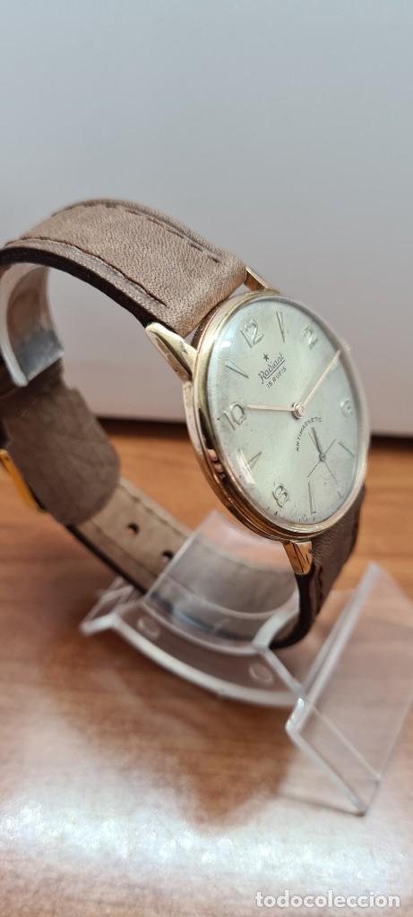 Relojes: Reloj caballero (Vintage) RADIANT, cuerda chapado oro, esfera blanca con segundero las seis, correa - Foto 10 - 257977085