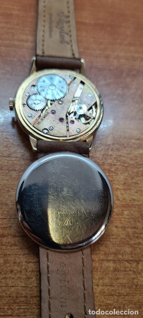 Relojes: Reloj caballero (Vintage) RADIANT, cuerda chapado oro, esfera blanca con segundero las seis, correa - Foto 12 - 257977085