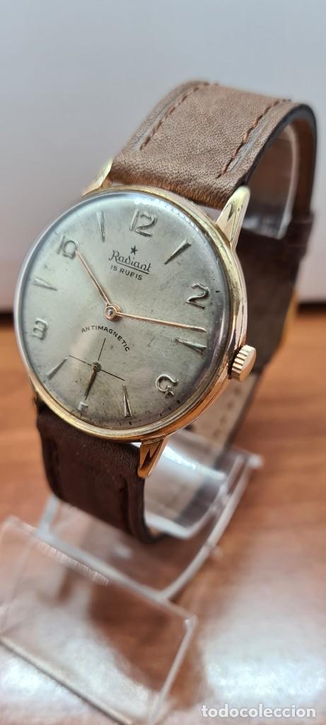 Relojes: Reloj caballero (Vintage) RADIANT, cuerda chapado oro, esfera blanca con segundero las seis, correa - Foto 13 - 257977085