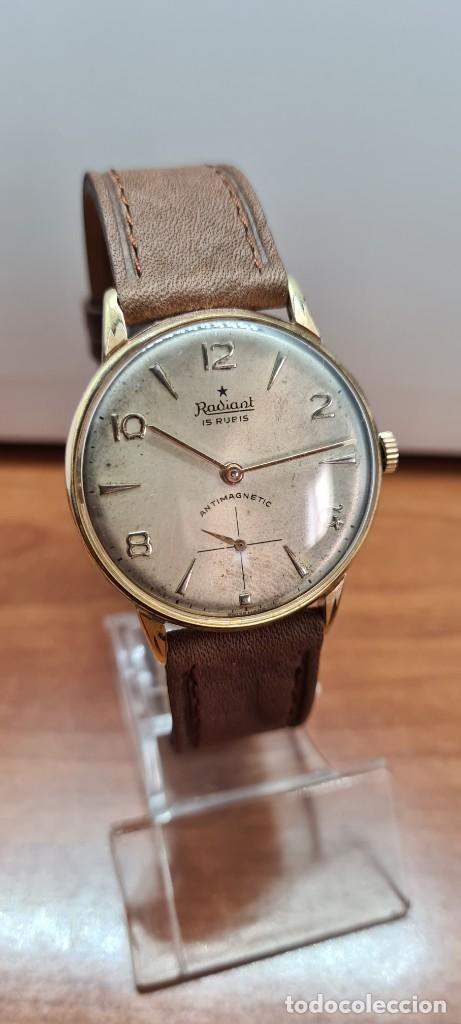 Relojes: Reloj caballero (Vintage) RADIANT, cuerda chapado oro, esfera blanca con segundero las seis, correa - Foto 14 - 257977085