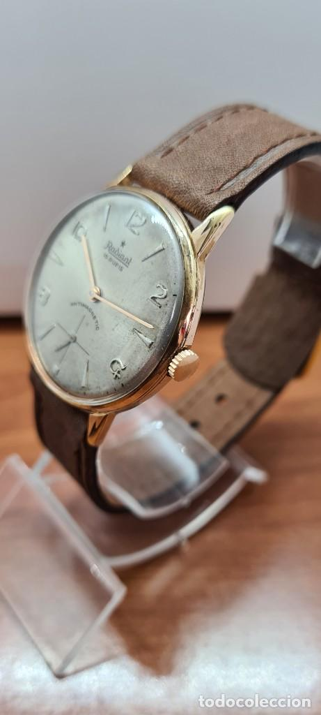 Relojes: Reloj caballero (Vintage) RADIANT, cuerda chapado oro, esfera blanca con segundero las seis, correa - Foto 17 - 257977085