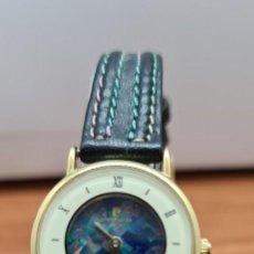 Relojes: RELOJ SEÑORA (VINTAGE) PIERRE CARDIN. PARIS, CHAPADO DE ORO, ESFERA TIPO MARMOL, CORREA CUERO NEGRA.. Lote 258017745