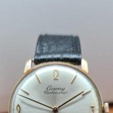 Relojes: RELOJ CABALLERO (VINTAGE) CAUNY CENTENARIO, CHAPADO ORO 10 MICRAS, CUERDA, 17 RUBIS, CORREA DE CUERO. Lote 258022050
