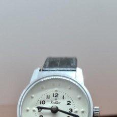 Relojes: RELOJ CADETE PARA CIEGOS MARCA KALTER DE CUERDA MANUAL, ESFERA BLANCA CON NÚMEROS EN BRAILLE, CORREA. Lote 258033085