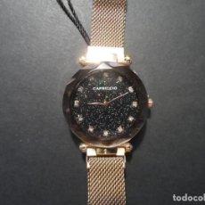 Relojes: RELOJ CORREA MALLA ACERO ORO ROSA. MARCA CAPRICCIO.ESFERA NEGRA PORPURINA.CRISTAL FACETADO.SIGLO XXI. Lote 263268230