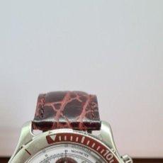 Relojes: RELOJ CABALLERO XERNUS ACERO CRONOGRAFO, BISEL GIRATORIO, CALENDARIO A LAS TRES, CORREA CUERO NUEVA. Lote 279529528