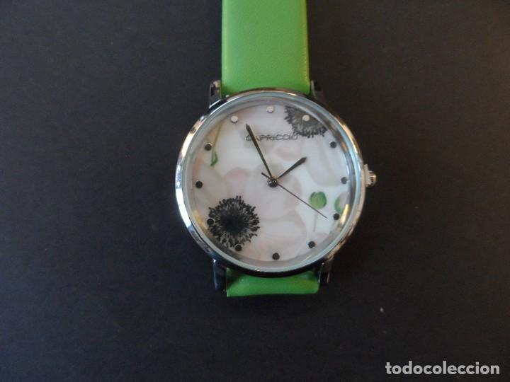 Relojes: RELOJ DE CORREA CUERO O POLIPIEL VERDE Y ACERO .MARCA CAPRICCIO. ESFERA FLORES. SIGLO XXI - Foto 5 - 287315328