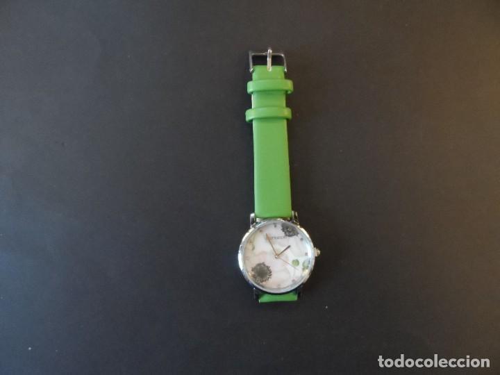 Relojes: RELOJ DE CORREA CUERO O POLIPIEL VERDE Y ACERO .MARCA CAPRICCIO. ESFERA FLORES. SIGLO XXI - Foto 6 - 287315328