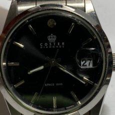 Relojes: RELÓJ COSTER DIAMONDS QUARTZ ACERO COMPLETO CRISTAL CON LUPA Y DIAMANTE A LAS 12. Lote 297094908