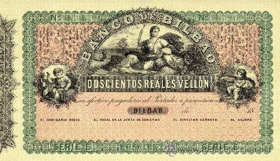 5 FACSÍMILES BILLETES DEL BANCO DE BILBAO. EDITADOS EN EL CENTENARIO 1932. REALES DE VELLON. FOTOS (Numismática - Reproducciones)