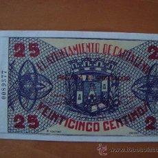 Reproducciones billetes y monedas: BILLETE 25 CENTIMOS AYUNTAMIENTO DE CARTAGENA 1937 REPRODUCCION. Lote 16599278