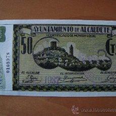 Reproducciones billetes y monedas: BILLETE 50 CENTIMOS AYUNTAMIENTO DE ALCAUDETE 1937 REPRODUCCION. Lote 16600038