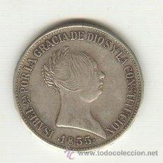 Reproducciones billetes y monedas: BONITA COPIA DE JOYERIA EN PLATA 20 REALES 1855 ISABEL II PESO: 25 GRAMOS.. Lote 22380064