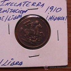 Reproducciones billetes y monedas: REPRODUCCION DE EPOCA, EN COBRE, DE LA MOINEDA DE UNA LIBRA DE JORGE V, 1910. Lote 19688355