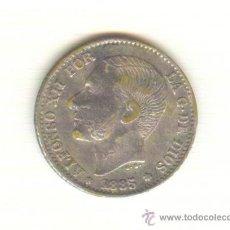 Reproducciones billetes y monedas: 12-RAROS CINCUENTA CÉNTIMOS ALFONSO XII AÑO 1885 FALSOS DE ÉPOCA. Lote 27183191