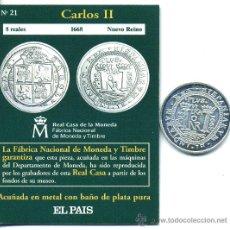 Reproducciones billetes y monedas: CARLOS II 8 REALES 1668 DE NUEVO REINO (REPRODUCCION DE LA F.N.M.T.) BAÑO PLATA Y CERTIFICADO 33 M/M. Lote 26857371